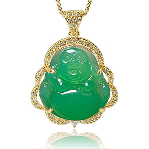 Good Luck Laughing Buddha Pendant, Luxury Green Jade Smile Buddha Statue Cubic Zirconia Necklace with 18K Gold Plated Chain, Bodhisattva Amulet Jewelry Gift For Birthday Anniversary Mother's Day