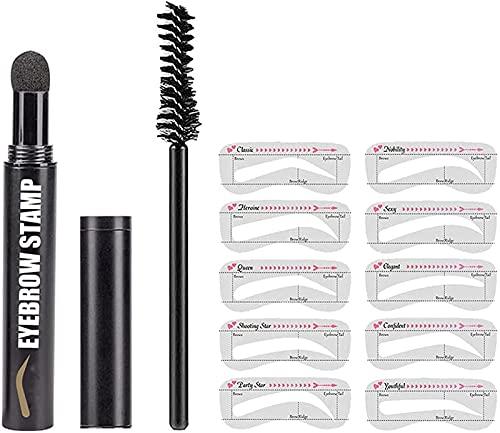 Kit de stylos pour tampons à sourcils 6 types pochoirs façonnant la poudre imperméable, le tampon et kit pochoirs, façonnage (Noir)