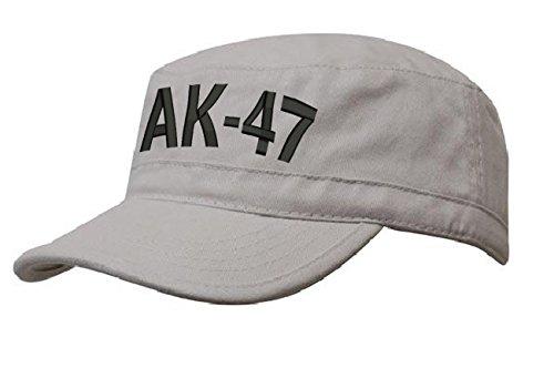 morefaz AK 47 MILITÄRMÜTZE Vintage Military Mütze Cap Fancy Dress Kappe Biker Cadet Hat Flat (AK 47 Stone Black)