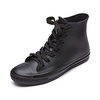 DKSUKO Women's Rain Boots Waterproof High Top Rain Shoes with Lace Up Anti-Slip Garden Shoes (10 B(M) US, Black)