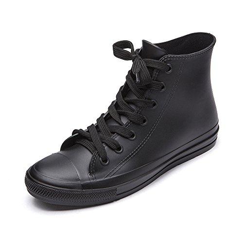 DKSUKO Women's Rain Boots Waterproof High Top Rain Shoes with Lace Up Anti-Slip Garden Shoes (10 B(M) US, Black)