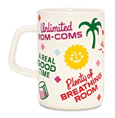 Ceramic mug measures 3.25 inches (8.23 cm) wide x 4 inches (10.16 cm) tall; more space = more coffee! Coffee cup holds 13 ounces (that's 2 more than our classic size mug!) of any beverage you can think of. Drink up! Features a fun printed surface des...