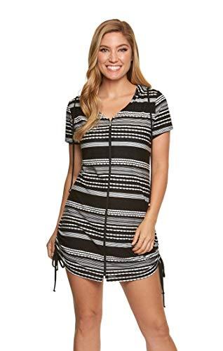 Dotti Women's Zip-Front Adjustable Hoodie Tunic Swim Cover Up Black/White S