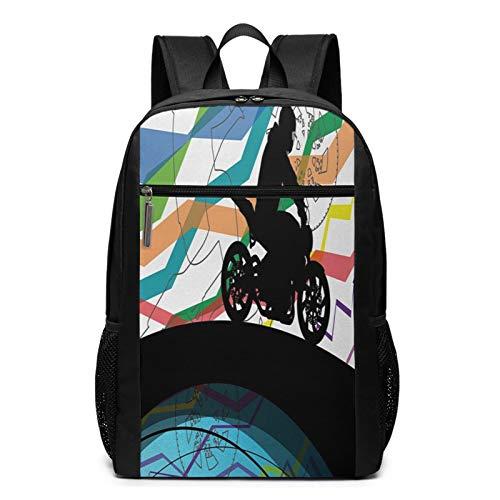 OMNVEQ Mochila Escolares Bicicleta de Tierra 40, Mochila Tipo Casual para Niñas Niños Hombre Mujer Mochila para Ordenador Portátil Viaje