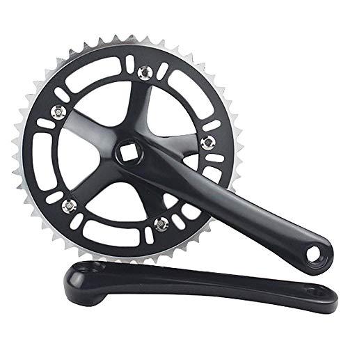 TOOGOO Bicicleta de Carretera CNC 46T Juego de Bielas Negro 6061-T6 AleacióN de Aluminio Manivela de Plato Rueda de Cadena Fixie