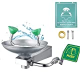Huanyu Eye Wash Station Emergency Eyewash Stations Eye Washer Wall Mount Stainless Steel with Eye Wash Sign Patented Nozzle Gentle Flow Water CE Certification (1301-1:Stainless Steel Basin)
