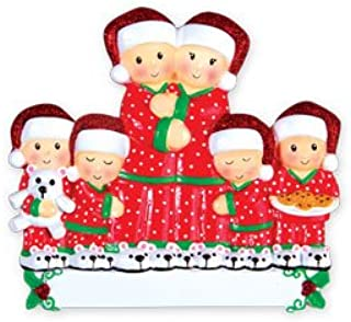 Grantwood Technology Personalized Christmas Ornaments Family Series- Pajama Family of 6 / Personalized by Santa/Personalized Family Christmas Ornaments/Personalized Family of 6 Christmas Ornaments