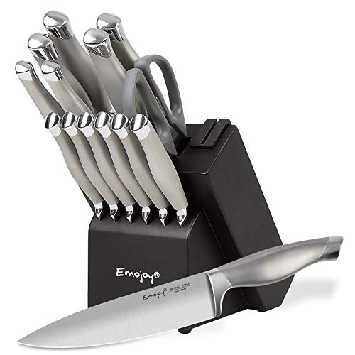 Emojoy Knife Set, 15 Pieces Kitchen Knife Set with Block Wooden, Chef Knife Set with Built-in Sharpener, German Stainless Steel Hollow Handle Knives Grey