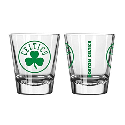 Official Fan Shop Authentic NBA Logo 2 oz. Shot Glasses 2-Pack Bundle. Show Your Basketball Team Pride at Home, Your Bar or at The Tailgate. (Boston Celtics)
