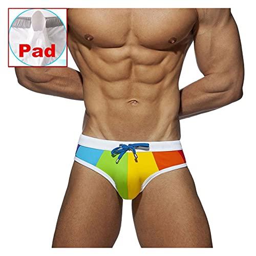 Badebekleidung Männer Push Up Rainbow Swim Slip Koffer Koffer Mens Unterwäsche Badeanzug Schwimmstämme Suring Bikini Beach Shorts (Color : Rainbow (with pad), Size : L.)