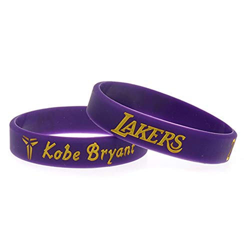 Zdy 5Pcs Braccialetto in Silicone Mamba Snake Lakers Commemorative Edition No. 24 Signature Edition Kobe Basket NBA Fan Bracciale Silicone Anello Sport,Viola
