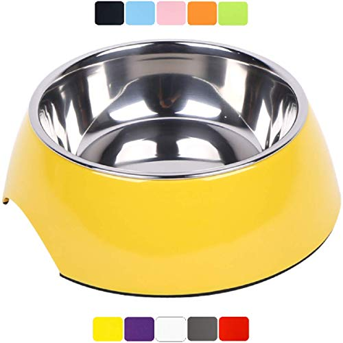 DDOXX Comedero Perro, Antideslizante Tamaños | para Perros Pequeño, Mediano y Grande | Bol Accesorios Acero INOX-Idable Melamina Gato Cachorro | Amarillo, 160 ml