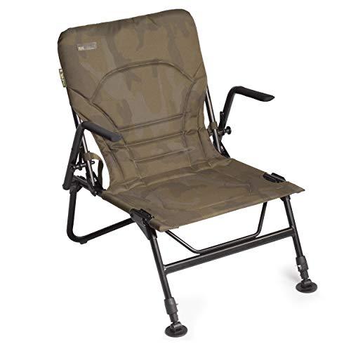 Sonik SK-TEK Lite Armchair nur 3.5kg - Klappbarer Angelstuhl mit gepolsterter Armlehne faltbar - Karpfenstuhl für die Angelliege mir verstellbaren Schlammfüßen Quick Lock