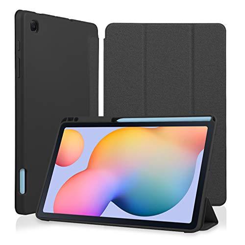 Wonzir Hülle für Samsung Galaxy Tab S6 Lite 10.4 (P610/P615) 2020, Ultra Slim Cover Schutzhülle TPU Leightweight Flip Hülle mit S Pen Halter für Tab S6 Lite 10,4 Zoll (S6 Lite 10.4,Schwarz)