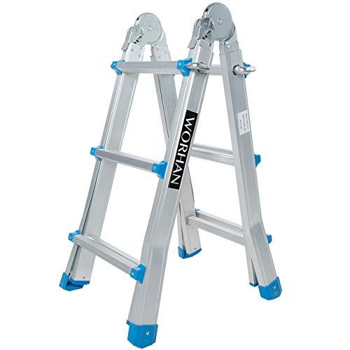 WORHAN® Escalera 302cm Aluminio Telescopica 3.02m Multifuncion Multiuso Aluminio Plegable Tijera L3