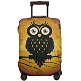 Animal Owl Owlet Tree Moon Travel Luggage Cover,Elastic Polyester Protection Anti-Scratch Waterproof,Travel Elastic Spandex Suitcase Protector Various Sizes Fit All Luggage