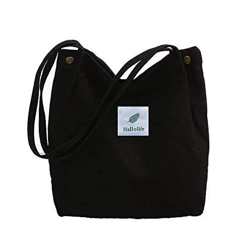 WillingFun Canvas Tasche Damen Canvas Umhängetasche Shopper Casual Handtasche groß Chic Schulrucksack für Alltag Büro Schulausflug Einkauf, 38 x 32 x 11cm