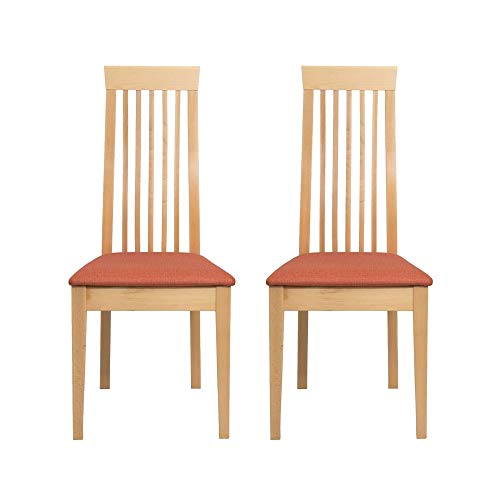 Amazon Marke -Alkove - Hayes - Set aus 2 Massivholzsesseln mit gepolsterter Sitzfläche, Buche lackiert