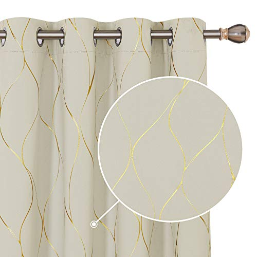 Deconovo Home Decoration Eyelet Room Darkening Curtains Gold Wave Foil Printed Curtains Energy Saving Curtains for Living Room Beige W66 x L72 One Pair