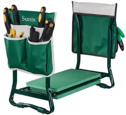 Sunix Klappbarer Gartenknie und Sitz, mit 2 kostenlosen Werkzeugtaschen, mit Knieschoner für die Gartenarbeit Robuster, Leichter Gartenknie - ideales Gartengeschenk