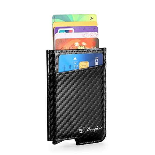 RFID Blocking Slim Money Clip Aluminum Wallet Minimalist Automatic Pop-up Card Case (carbon fiberblack)