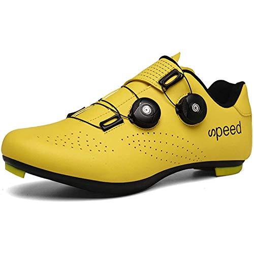 JINFAN Rennradschuhe Herren,Rennradschuh Anti-Rutsch-Tourenschuhe Mit Reflektierenden Streifen Für Mountainbike,Yellow-UK11=EU46(280mm)