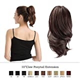 BARSDAR 10 Inch Ponytail Hair Extensions Hair Piece Clip Claw in Ponytail Extensions Short Curly Synthetic for Black Women (2/33 Darkest Brown & Dark Auburn Mixed)