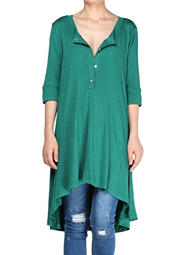 Mordenmiss Women's New Half Sleeve High Low Loose Tunic Tops (XXXL, Green)