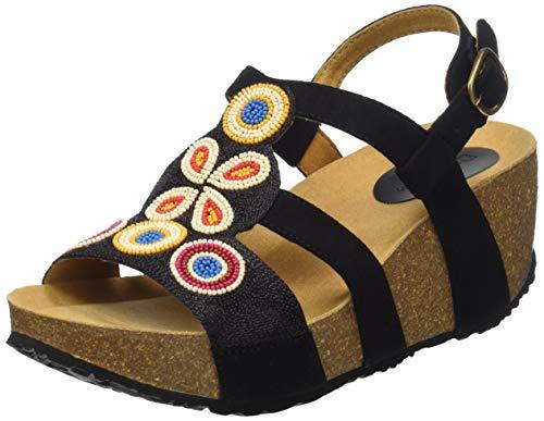 Desigual Shoes (odisea_Flower Beads), Sandali con Cinturino alla Caviglia Donna, Nero (Negro 2000), 37 EU