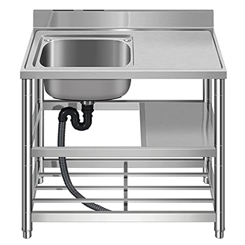Commercial Kitchen Sink, Integrated Catering Single Sink, Independent Practical Sink, Single Bowl Large-Capacity Sink/B / 110cm×50cm×85cm