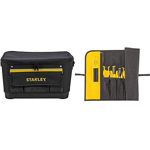 STANLEY 1-96-193 - Bolsa para herramientas con tapa plana, 44.7 x 26.2 x 25.1 cm, base reforzada + 1-93-601 - Estuche para herramientas enrollable