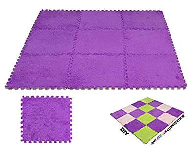 Interlocking Carpet Squares 9 Tiles Blue Fuzzy Fluffy Plush Foam Mats for Living Room, Bedroom, Kitchen and Hard Floor by DeElf
