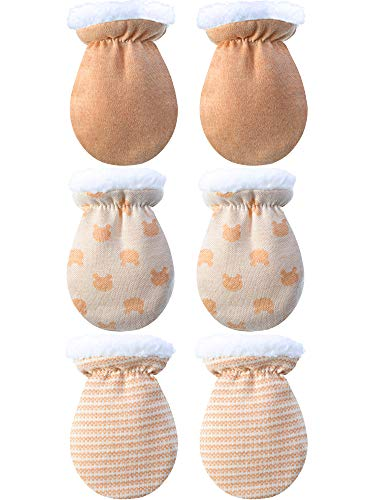 3 Paare Baby Fäustling Handschuhe Warme Baumwoll Handschuhe Baby Jungen Mädchen Winter Handschuhe Säugling Neugeborenen Wolle Gefüttert Handschuhe für 0-12 Monate (Farbe A)