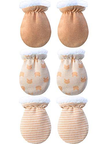 3 Pares de Manoplas de Bebé Guantes Calientes Mitones de Invierno de Bebés Niños Niñas Manoplas del Interior de Lana de Recién Nacido Infantil para 0-12 Meses (Color A)