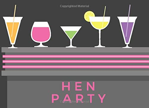 Hen Party: Hen Party Guest Message & Memory Book (8.25' x 6') Blank Pages Medium Large Size for Bachelorette Guests to Write In, Pink Grey & Black ... Bridal Party Hen Night Gift Log Hen Do