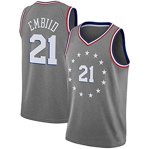 LGLE Camiseta de baloncesto para hombre, Joel Embiid Philadelphia, uniforme de baloncesto #21 edición de la ciudad bordado ropa, baloncesto Swingman Jersey, B, S