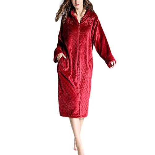 HONGBI Albornoz para Mujer con Cremallera,Bata Baño Elegante de Forro Polar Suave, Chaqueta Larga Tejido Franela Rojo L