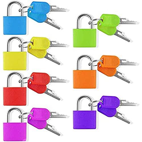 Mauvmr 7 Piezas de Bloqueo del candado con la Llave de la Maleta de la Maleta Conjunto de Bloqueo Mini Bolsa pequeña Bloqueo de Bloqueo de Equipaje 7 Colores