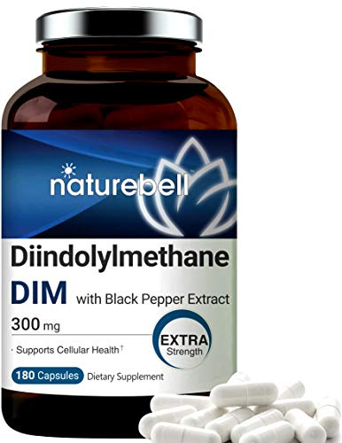 DIM Plus as Diindolylmethane, 300mg, 180 Capsules, with Black Pepper, Supports Menopause Relief, No GMOs