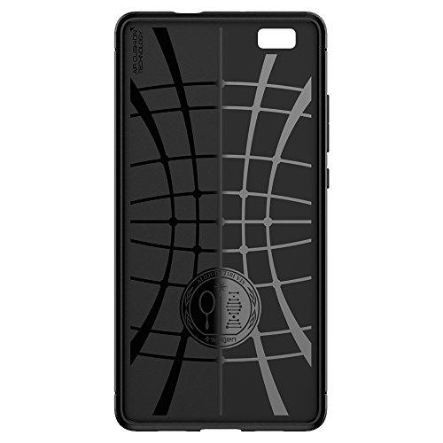 Huawei P8 Lite Hülle, Spigen® [Rugged Armor] Karbon Look [Schwarz] Elastisch Stylisch Soft Flex TPU Silikon Handyhülle Schutz vor Stürzen und Stößen Schutzhülle für Huawei P8 Lite Case Cover Black (L04CS20300) - 4