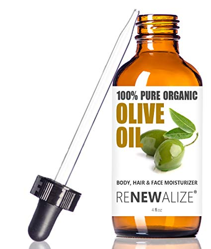 Renewalize Certified Organic Olive Oil - Dry Skin Body and Hair Moisturizer | Unrefined Extra Virgin Cold Pressed | Hot Oil Treatment