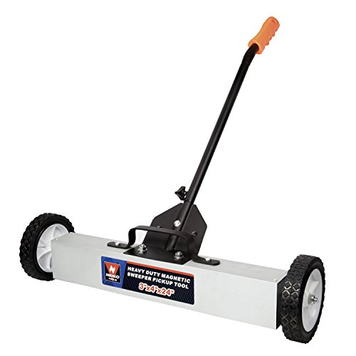 Neiko 53416A Magnetic Pick-Up Sweeper with Wheels 30 Lb, 24' | Adjustable Handle & Floor Clearance
