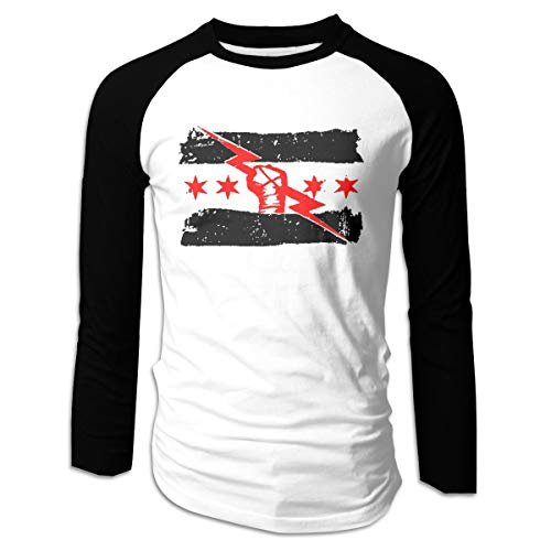 Mens Raglan Long Sleeve T-Shirt cm Punk Best in The World Classic Baseball Tee Tops M Black