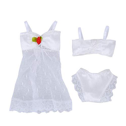 ETbotu Verjaardagscadeaus - Doll Lingerie Nachtkleding Kant Nachtjurk + Bikini Set Ondergoed voor 29CM Pop Wit Geschikt voor 29CM poppen om te dragen
