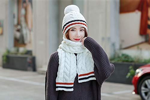 DMXYZZM Sombrero De Punto Sombrero De Invierno Bufanda Moda De Punto Gorros De Ganchillo Cap Sombreros para Mujeres Bufanda Caliente Y Raya De Sombrero Gorro De Punto Gorros