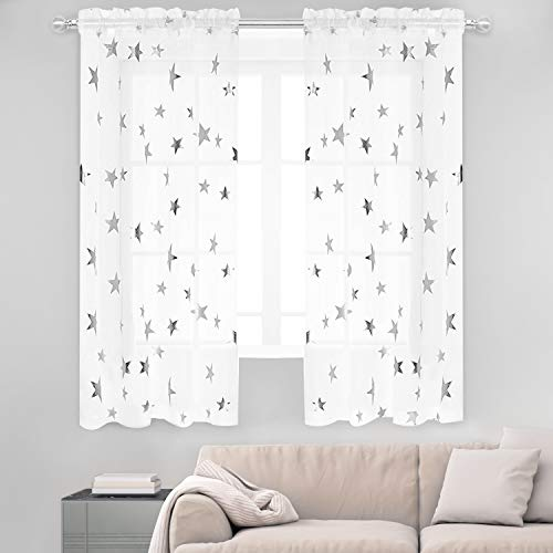 Anjee Sheer Curtains with Printed Silver Stars (2 Panels), Voile White Sheer Window Curtains for Kitchen, Kids Room and Nursery (54 x 63 Inches)