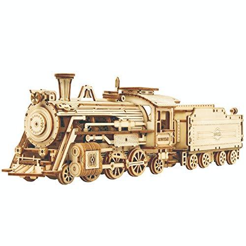 YUDIZWS Tren de Vapor de Lujo de Rompecabezas de Madera 3D, 3D DIY DIY Puzzle Modelo Modelo Hecho a Mano Regalo de Juguete para niños y Adultos,Trains