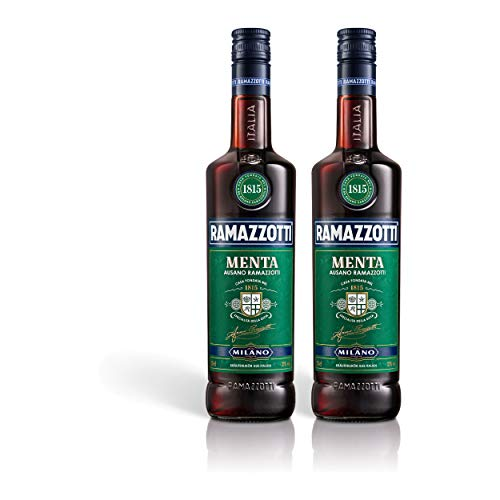 Ramazzotti Menta Kräuterlikör 2er Set, mit Minznote, Schnaps, Spirituose, Alkohol, Flasche, 32%, 2 x 700 ml