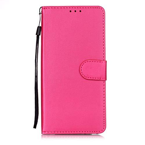 Lomogo OnePlus 7 Pro Hülle Leder, Schutzhülle Brieftasche mit Kartenfach Klappbar Magnetverschluss Stoßfest Kratzfest Handyhülle Case für OnePlus7 Pro - LOYHU250791 Rosa Rot