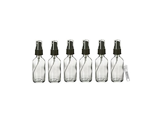 Perfume Studio 2oz Clear Glass Bottles with Black Sprayers (6 Bottles), & Free Perfume Studio Oil Sample
